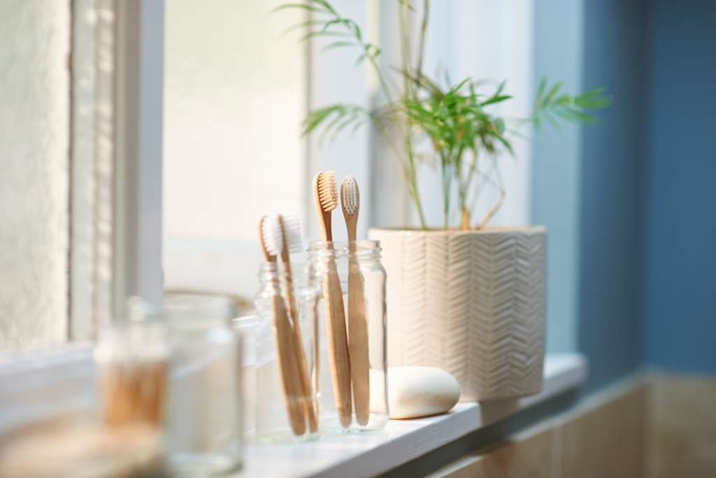 clean bathroom items on window ledge