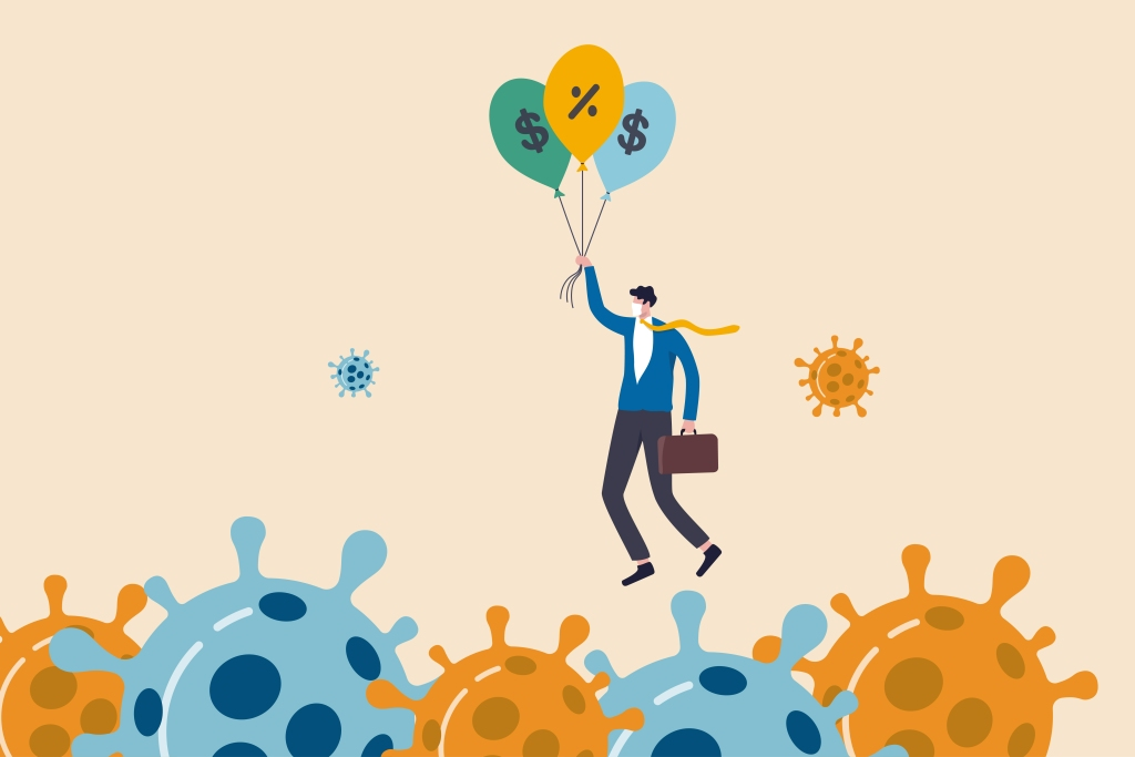 illustration businessman holding balloons fly past virus