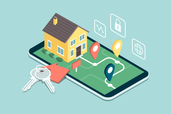 What to expect from virtual house showings and tours house and app illustration