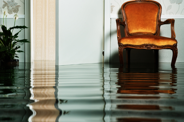 antique chair in flooded living room