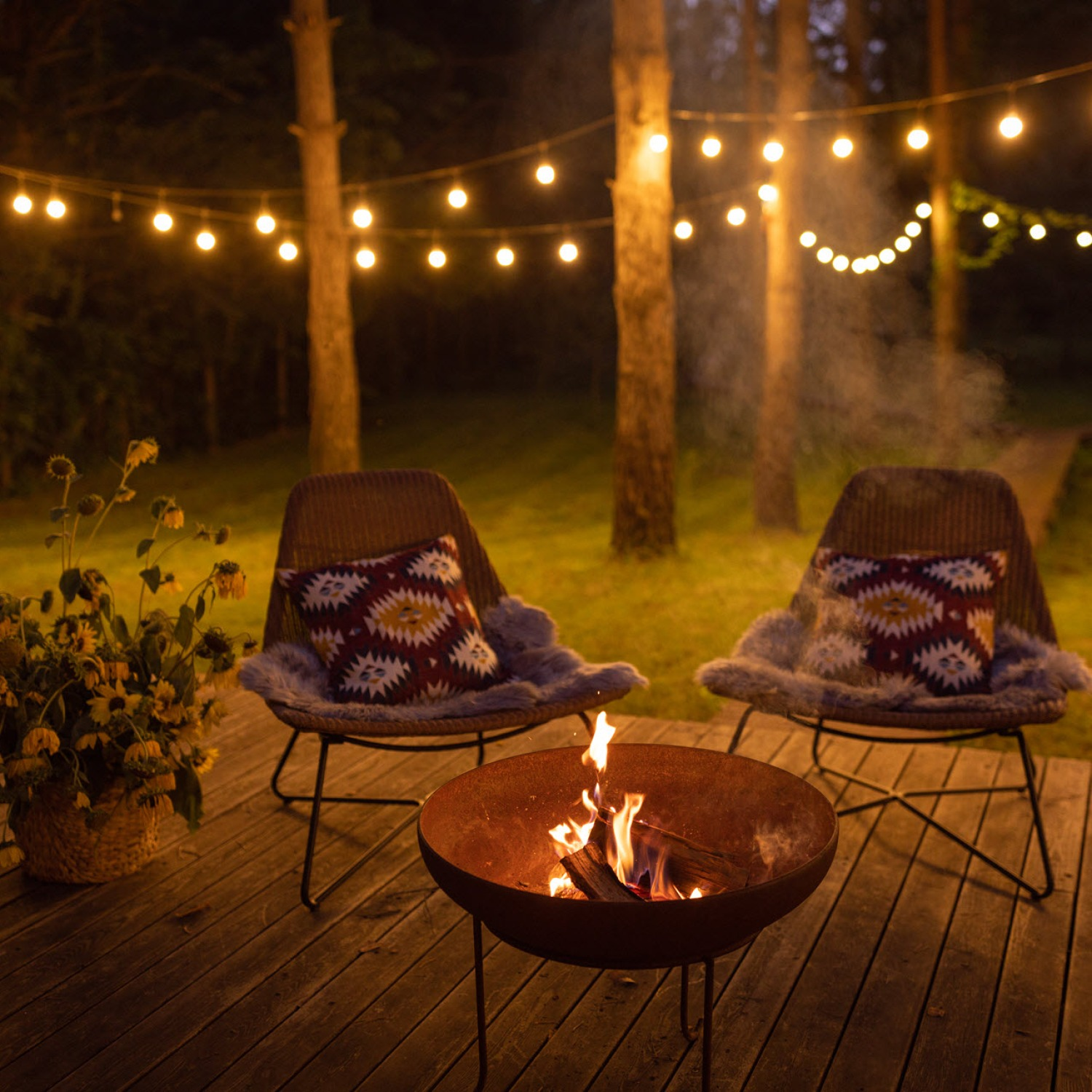 outdoor living season porch chairs string lights